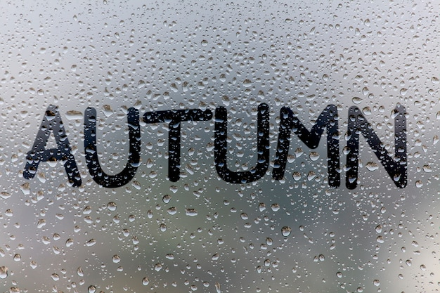 The inscription on glass, autumn concept