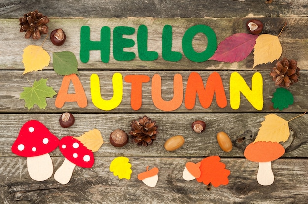 Надпись привет, осень, листья, грибы, желуди из фетра