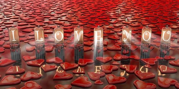 내가 당신을 사랑하는 비문은 흩어져있는 붉은 마음, 3d 일러스트 사이에 위치한 오래된 백열 텔레비전 램프에 강조 표시됩니다.