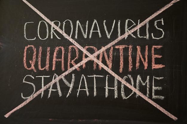 Надпись карантина пребывания дома. предупреждение о вспышке. написано белым мелом на доске в связи с эпидемией коронавируса во всем мире. covid 19 пандемия текст на черном фоне