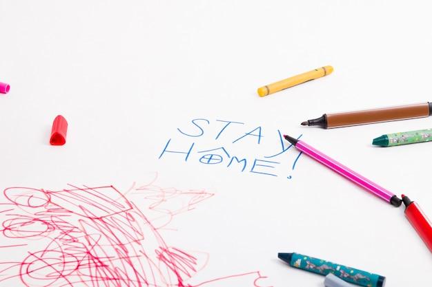 Надпись остаться дома ребенок