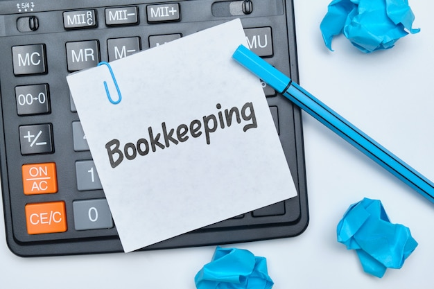 The inscription on the sticker bookkeeping as a concept of conducting legal business.