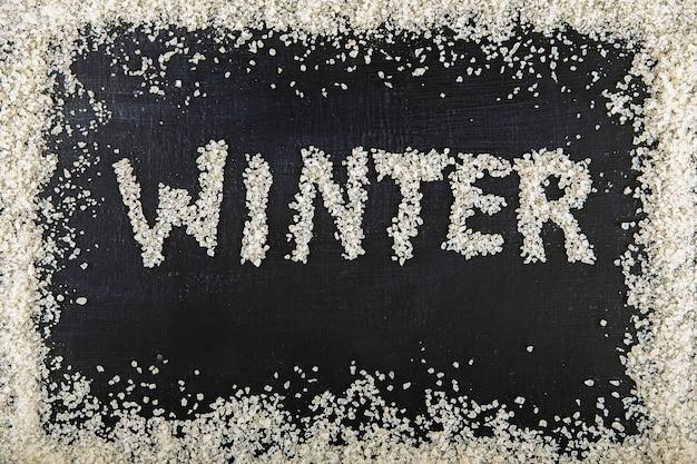黒板の質感に「冬」の刻印