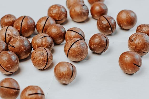 Inshell macadamia nuts on light gray.