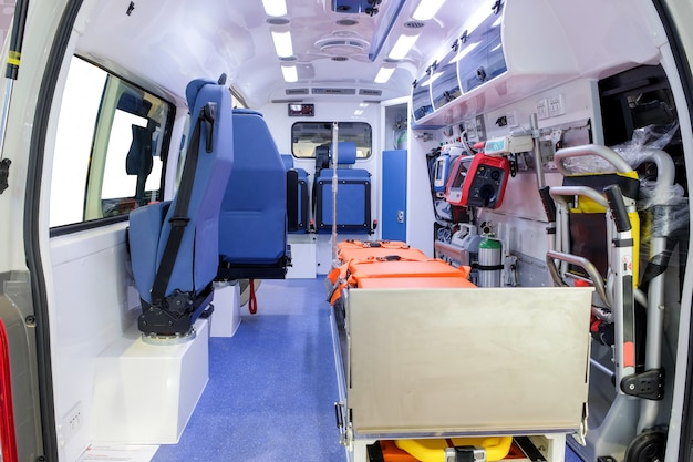 Inside an ambulance car with medical equipment to assist patients
