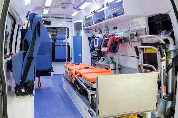 Inside an ambulance with medical equipment for helping human