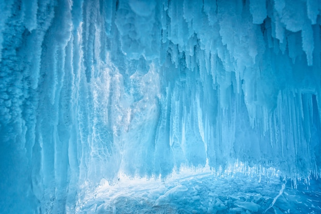 Inside the blue ice cave at lake baikal, siberia, eastern russia.