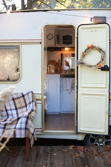 Inside camper van. camping in trailer, rv kitchen.