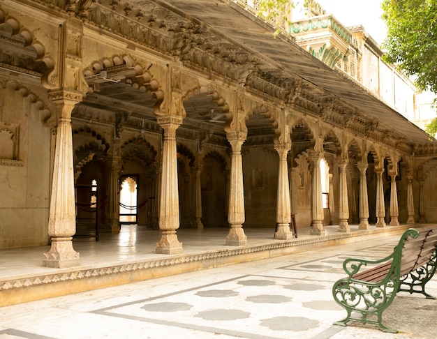 Inside the city palace pillars in udaipur