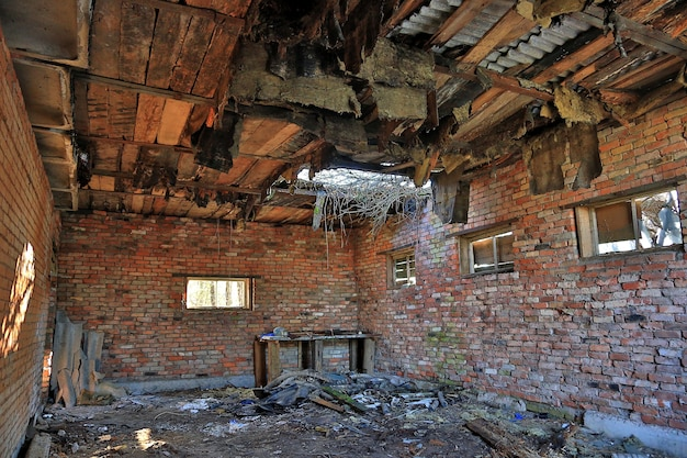 Inside the destroyed building. bomb pierced the ceiling.