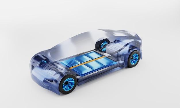 Внутри ева машины. аккумуляторная батарея внутри. компоненты шасси. 3d иллюстрация