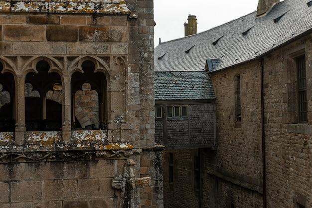 Inside the famous mont saint-michel abbey, in the manche department, normandy region, france