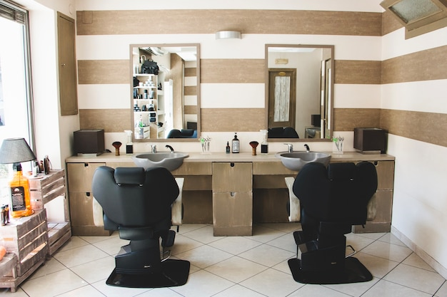 Inside hairdressing salon