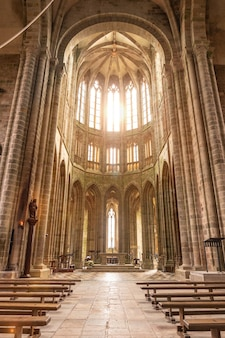 Inside the mont saint-michel abbey church, manche department, normandy region, france