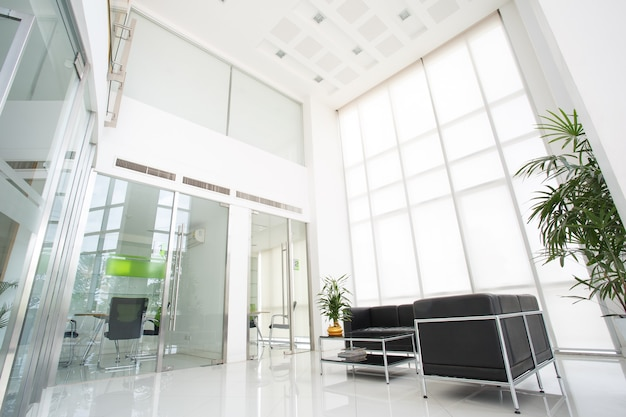 Inside of space in modern office, wide angle