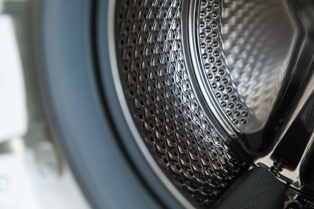 洗濯機の中。洗濯機の詳細。