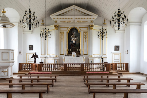 Inside view of church at the fortress of louisbourg, louisbourg, cape breton island, nova scotia, ca