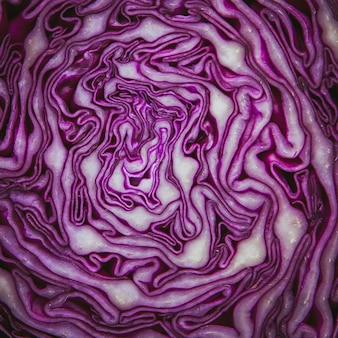 Inside view of red cabbage .