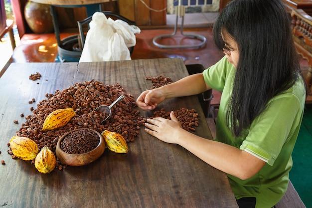 カカオ豆の品質を手作業で検査する