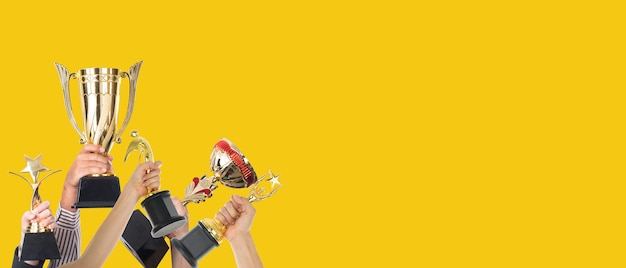 Inspiration of awards concepts.space background trophy for success business