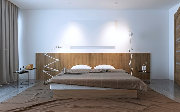 Inspiration to contemporary bedroom. white and brown contrast, idea of decor for your bedroom. 3d render