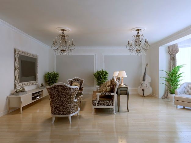 Inspiration for luxury living with antique furniture, wall molding and violoncello