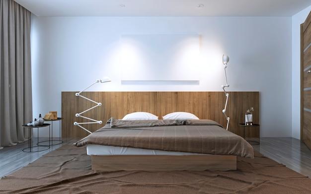現代的なベッドルームへのインスピレーション。白と茶色のコントラスト、寝室の装飾のアイデア。 3dレンダリング