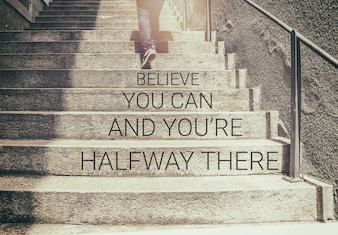 Inspirational quote on woman walk on stair background with vintage filter