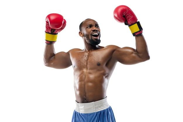 Inspired. funny emotions of professional boxer isolated on white studio background. excitement in game, human emotions, facial expression and passion with sport concept.