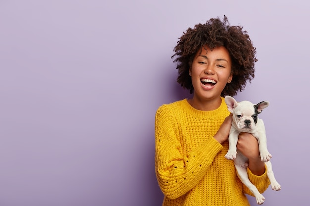 Inspired positive dark skinned woman enjoys pets company