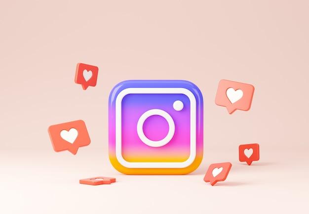 Instagramの3dロゴと同様の標識の構成プレミアム写真