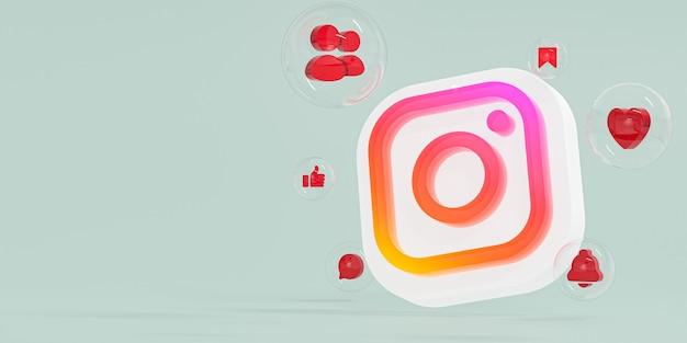 Instagram акриловое стекло ig логотип и значки социальных сетей с копией пространства