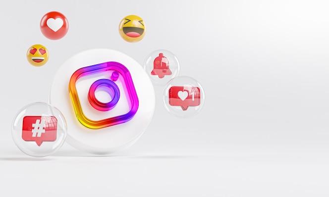 Instagramのアクリルガラスのロゴとソーシャルメディアのアイコンコピースペース3d