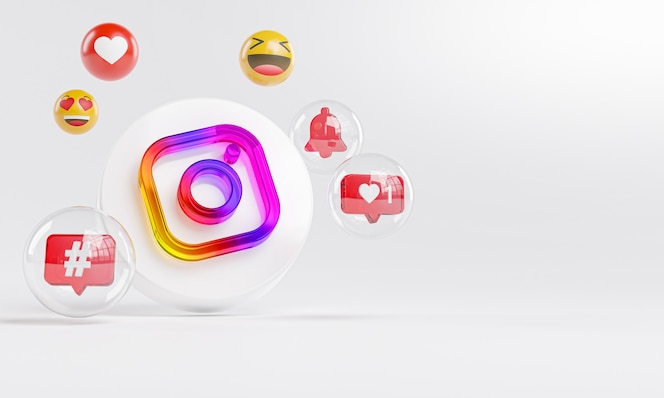 Instagram logo in vetro acrilico e icone dei social media copy space 3d