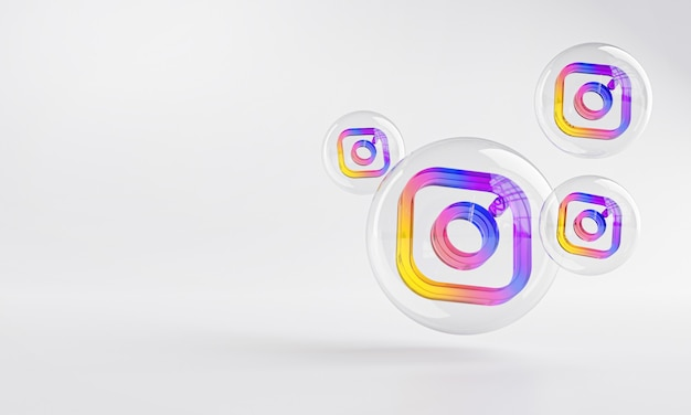 Instagram acrylic icon inside bubble glass copy space 3d