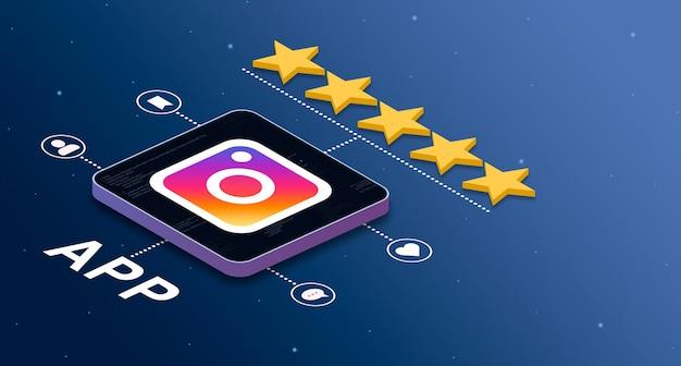별 5개 등급 및 소셜 활동 배지 3d가 있는 instagram 응용 프로그램 아이콘