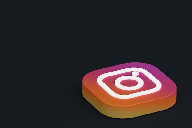 Instagram application logo 3d rendering on black background