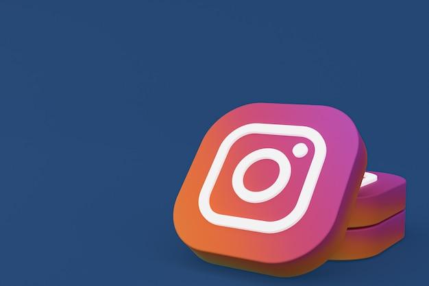 Instagram application logo 3d rendering on blue background