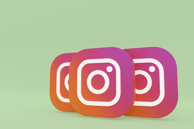 Instagram application logo 3d rendering on green background
