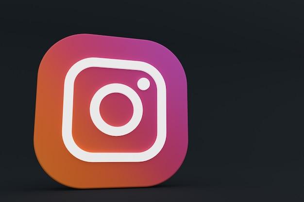 3d-рендеринг логотипа приложения instagram на черном фоне