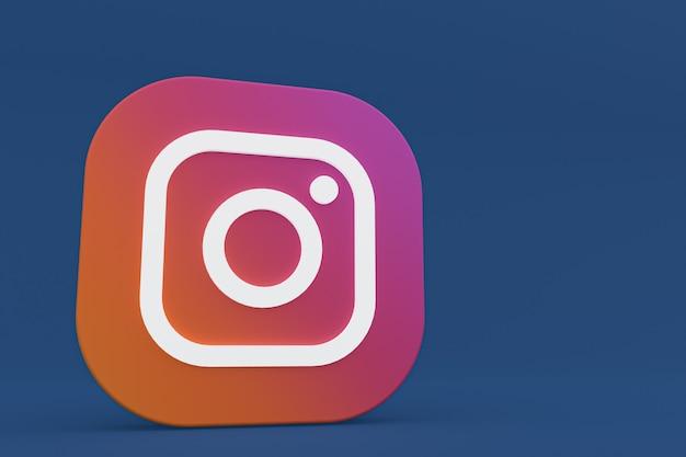 3d-рендеринг логотипа приложения instagram на синем фоне