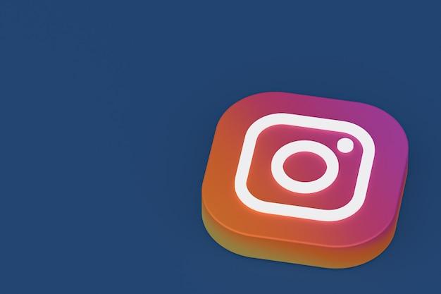 3d-рендеринг логотипа приложения instagram на синем фоне Premium Фотографии