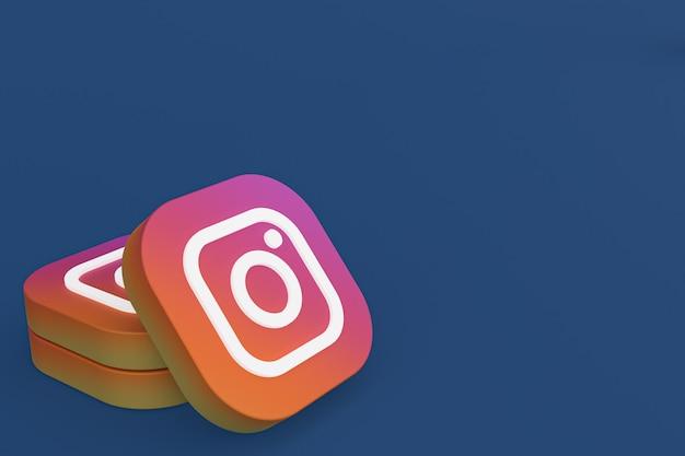파란색 배경에 instagram 응용 프로그램 로고 3d 렌더링