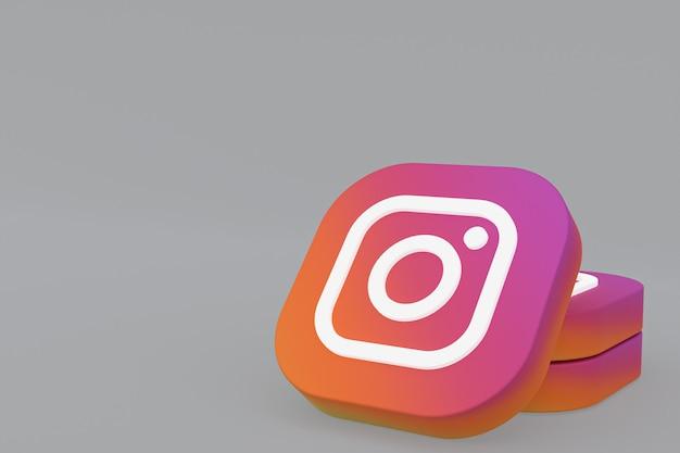 3d-рендеринг логотипа приложения instagram на сером фоне