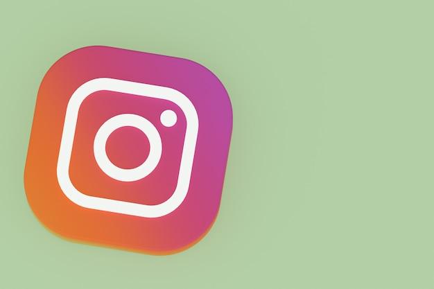 3d-рендеринг логотипа приложения instagram на зеленом фоне