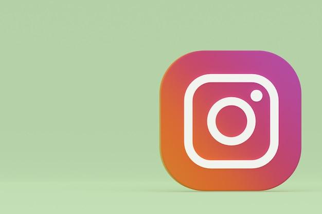 3d-рендеринг логотипа приложения instagram на зеленом фоне Premium Фотографии