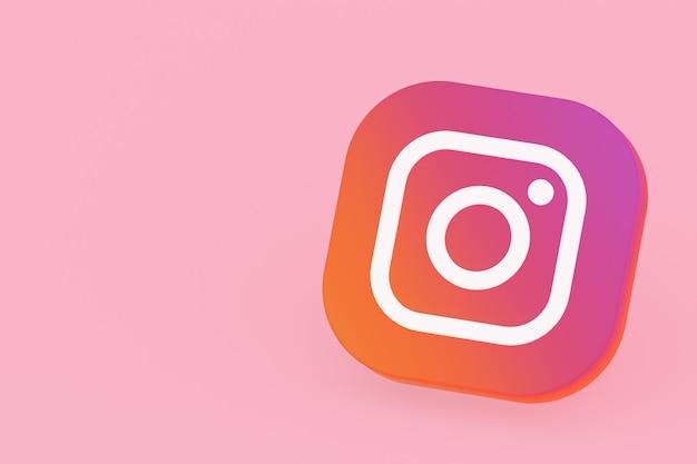 3d-рендеринг логотипа приложения instagram на розовом фоне