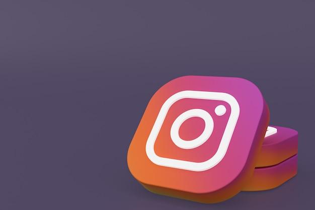 3d-рендеринг логотипа приложения instagram на фиолетовом фоне