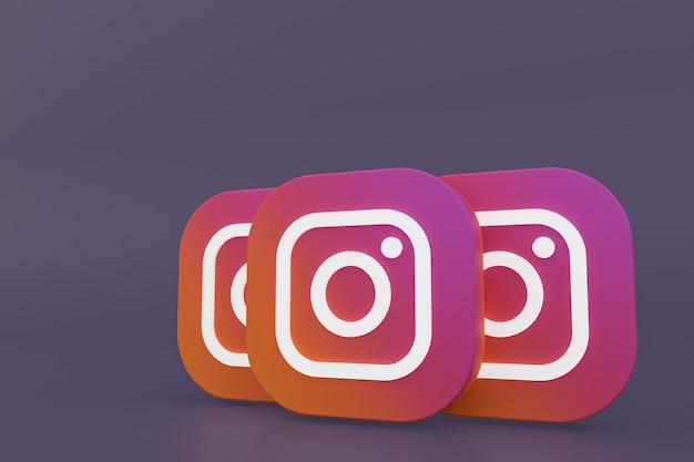 Instagram application logo 3d rendering on purple background