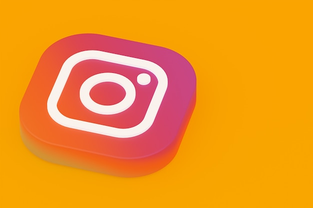 Instagram application logo 3d rendering on yellow background